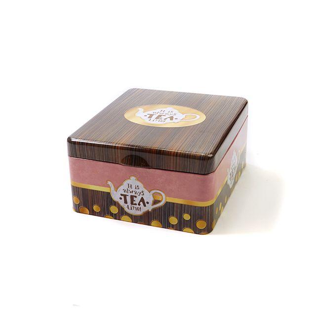 Vierkant theeblik tea time - 4 vakken