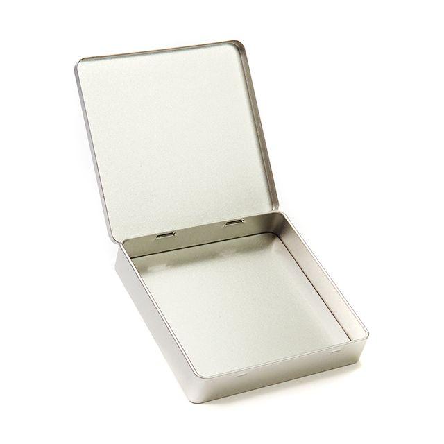 Vierkant plat blik met scharnierdeksel - Medium
