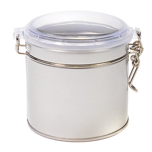 Zilver blik met klipsluiting en transparante deksel