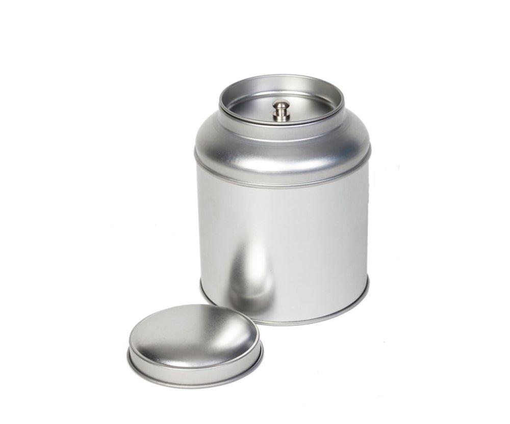 Blik met koepeldeksel - zilver