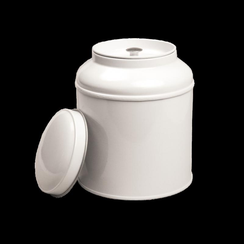 Blik met koepeldeksel - medium wit