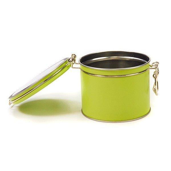Groen blik met klipsluiting