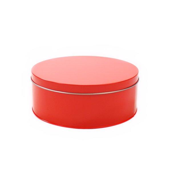 Rood rond koekblik