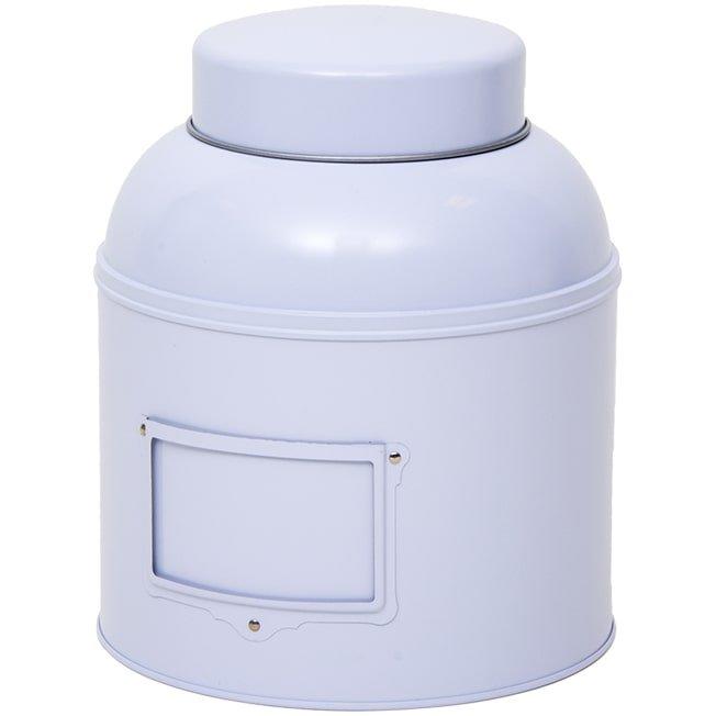 Wit voorraadblik met koepeldeksel