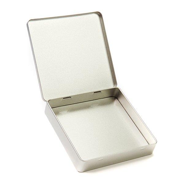 Vierkant plat blik met scharnierdeksel