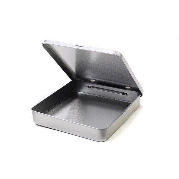 Vierkant plat blik met scharnierdeksel - klein open