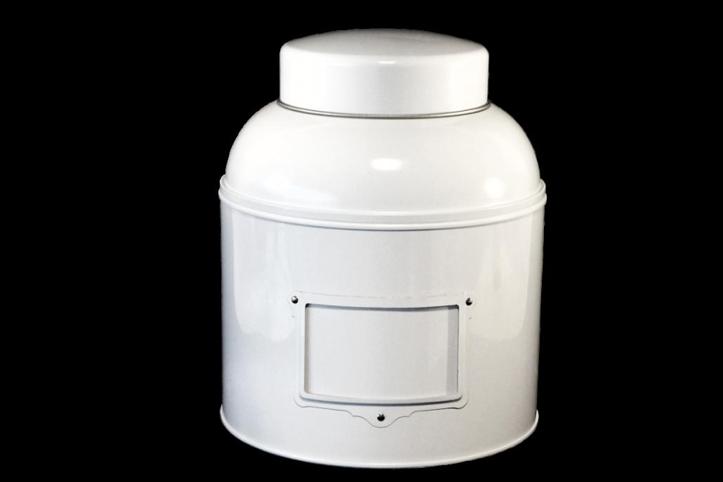 Voorraadblik met koepeldeksel wit