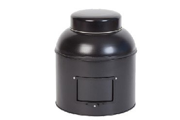 Voorraadblik met koepeldeksel zwart